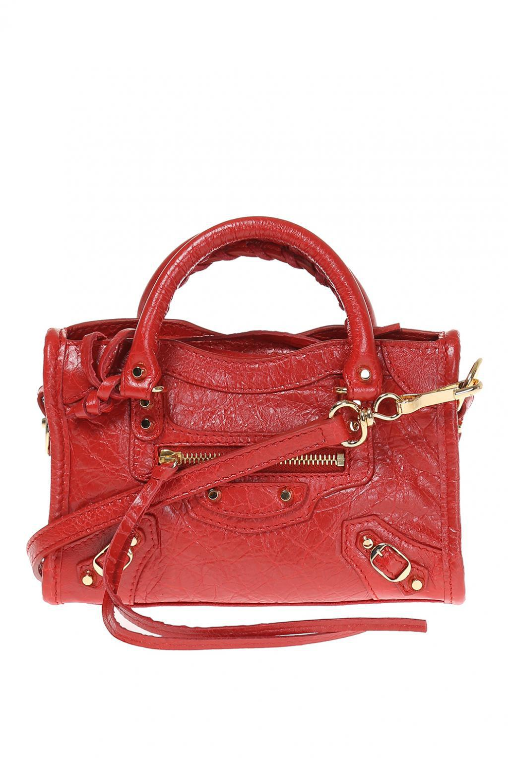 0dddeeab451b Lyst - Balenciaga  nano City  Shoulder Bag in Red