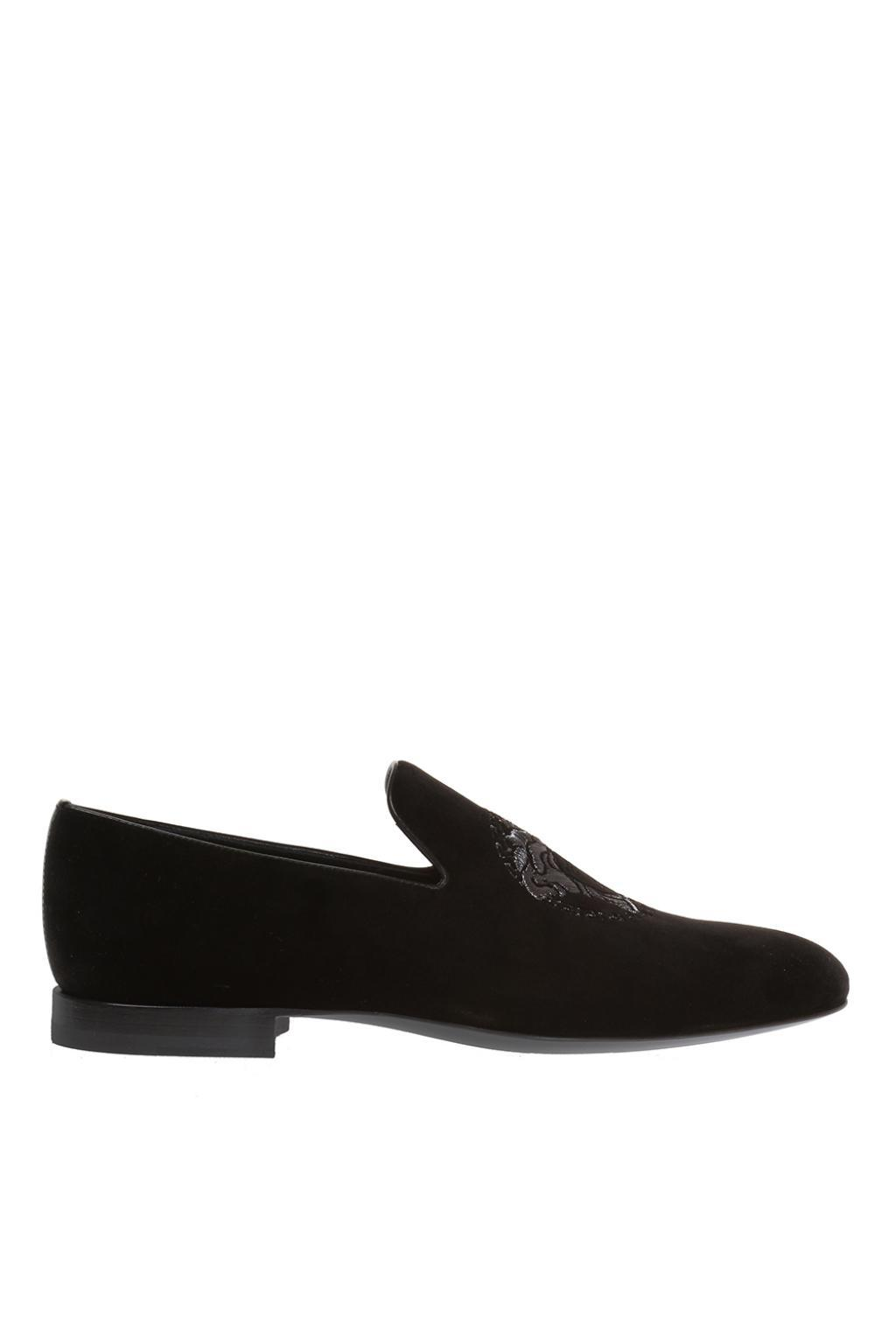 Lanvin Black Calf Hair Tribute Medusa Driver Loafers z8ZSK0gAYP