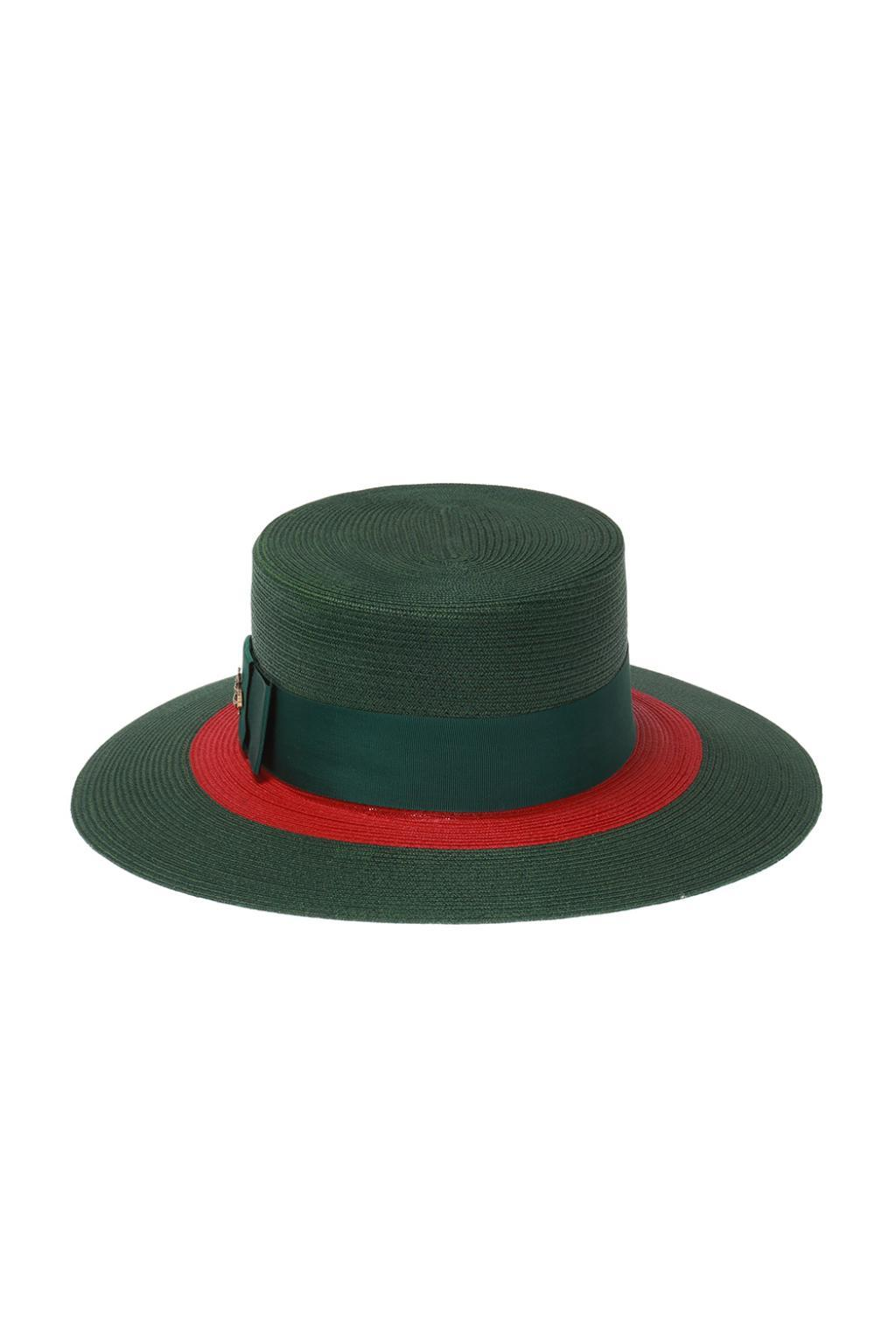 460260c8 Gucci Web Straw Hat in Green - Save 22% - Lyst