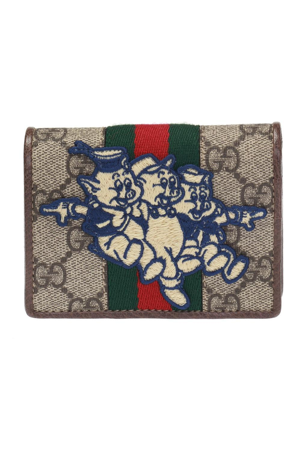 6c3bb065aab85a Gucci GG Card Case With Three Little Pigs in Brown - Lyst