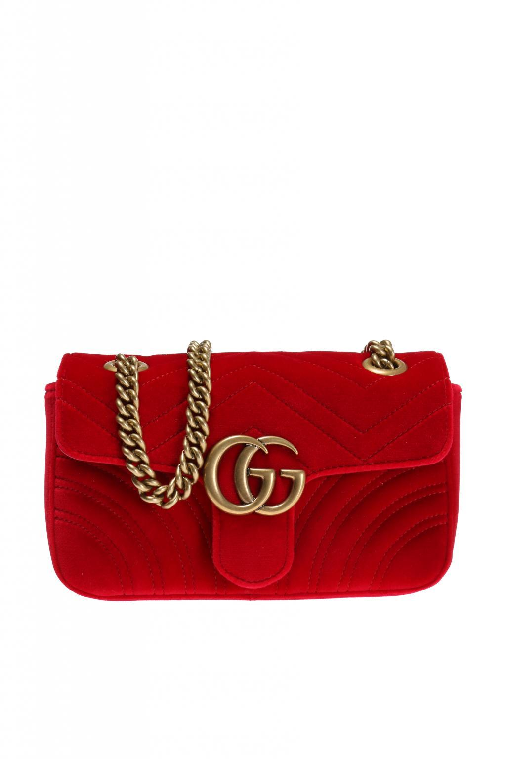 8502118c25904e Lyst - Gucci 'GG Marmont' Shoulder Bag in Red