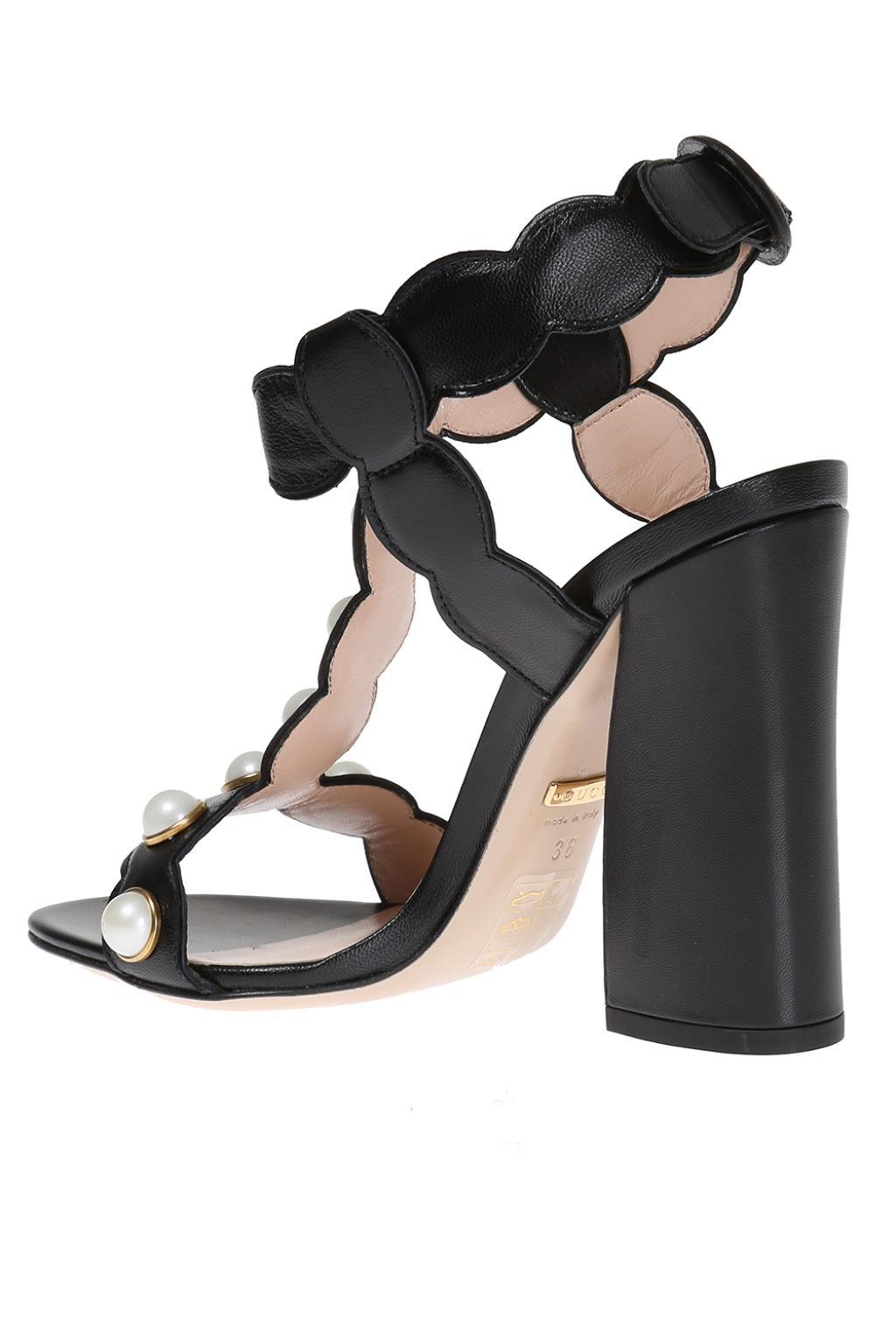 95fe7f41d63169 Lyst - Gucci  willow  Heel Sandals in Black