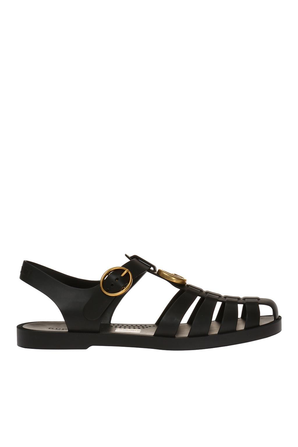 1ce54726569c Lyst - Gucci Metal Logo Rubber Sandals in Black for Men
