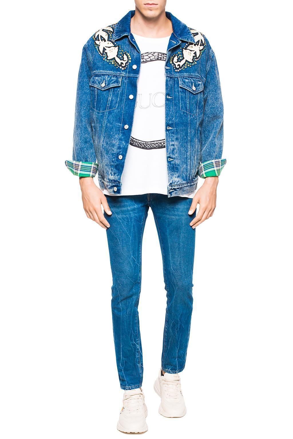 994cf4a95 Gucci - Blue Denim Jacket With Logo for Men - Lyst. View fullscreen