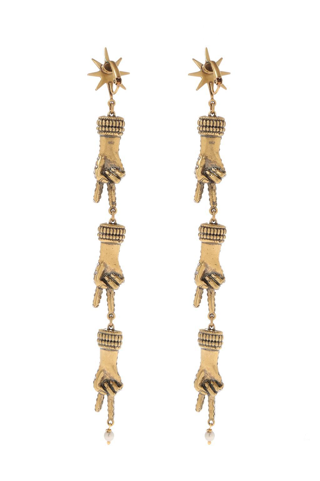 d51af88c4b9 Lyst - Gucci Hand Motif Clip-on Earrings in Metallic
