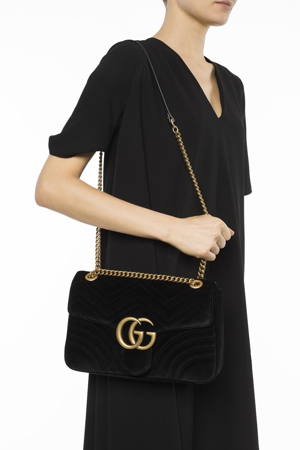 890b768791d8e5 Gucci - Black Gg 2.0 Medium Quilted Velvet Shoulder Bag - Lyst. View  fullscreen