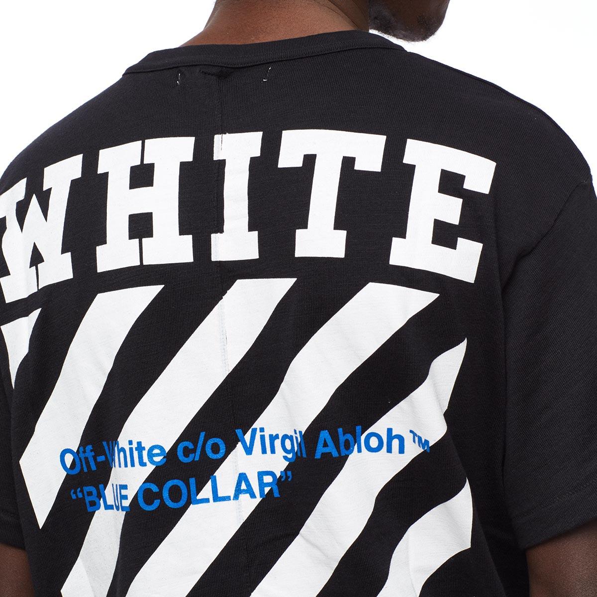 Lyst - Off-White c o Virgil Abloh Blue Collar Cotton T-shirt in ... d03e4ea87