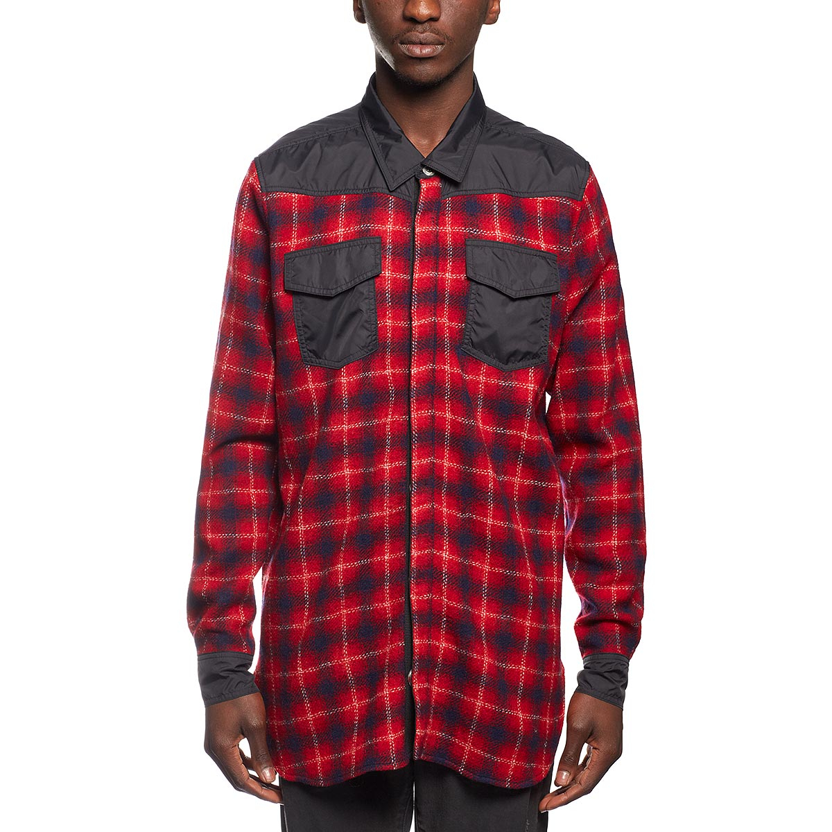 Off white c o virgil abloh flannel shirt in red for men lyst for White flannel shirt mens