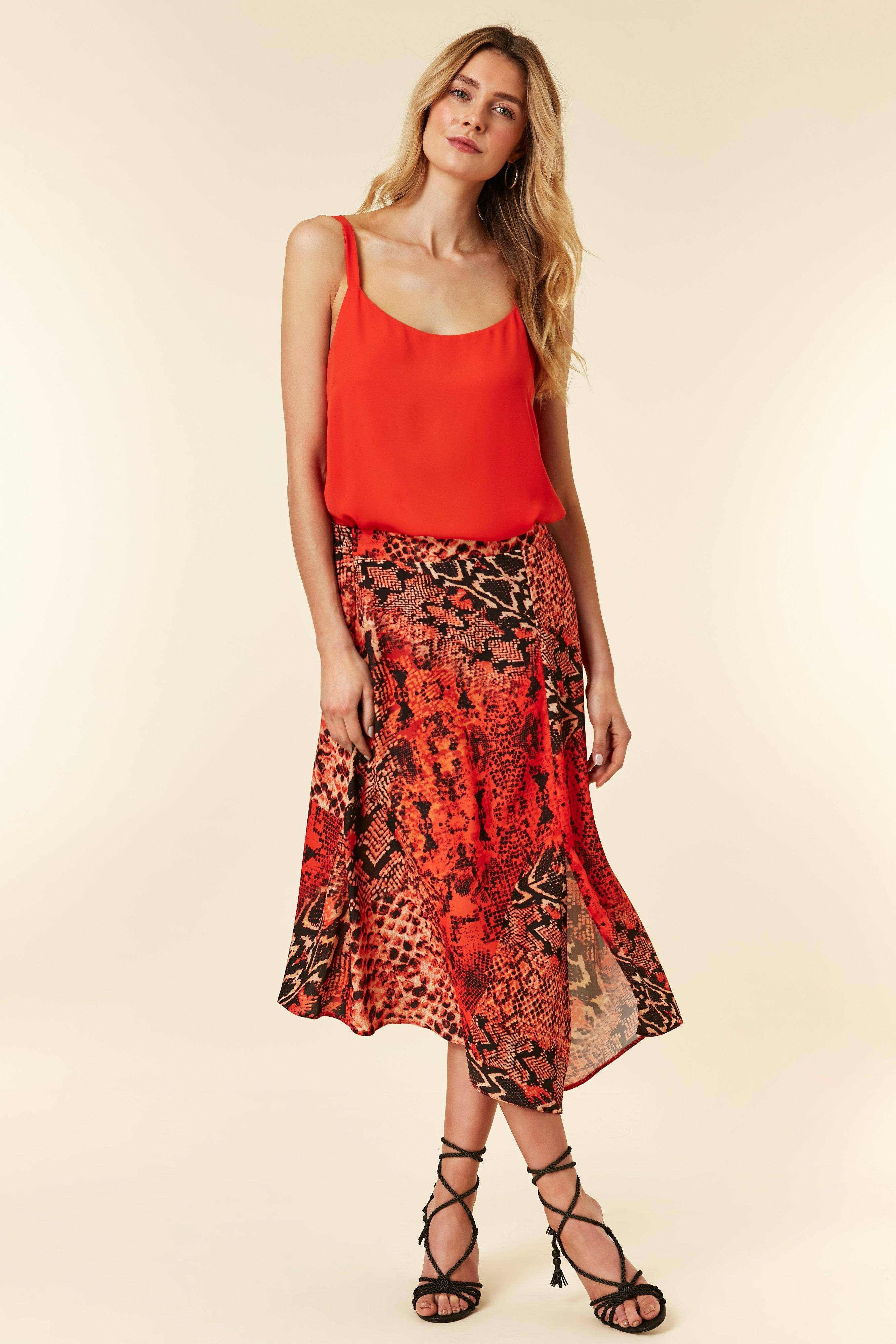 9c1406ff6a Wallis Red Snake Print Midi Skirt in Red - Lyst