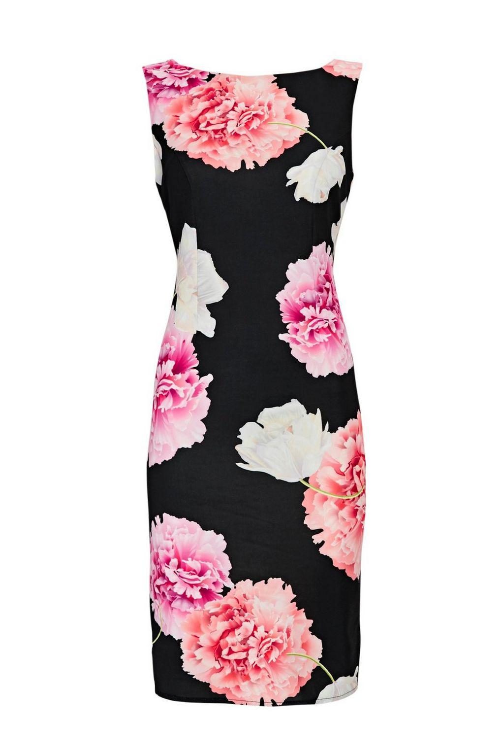 092583439c9e84 Wallis Petite Black Floral Print Shift Dress in Black - Lyst
