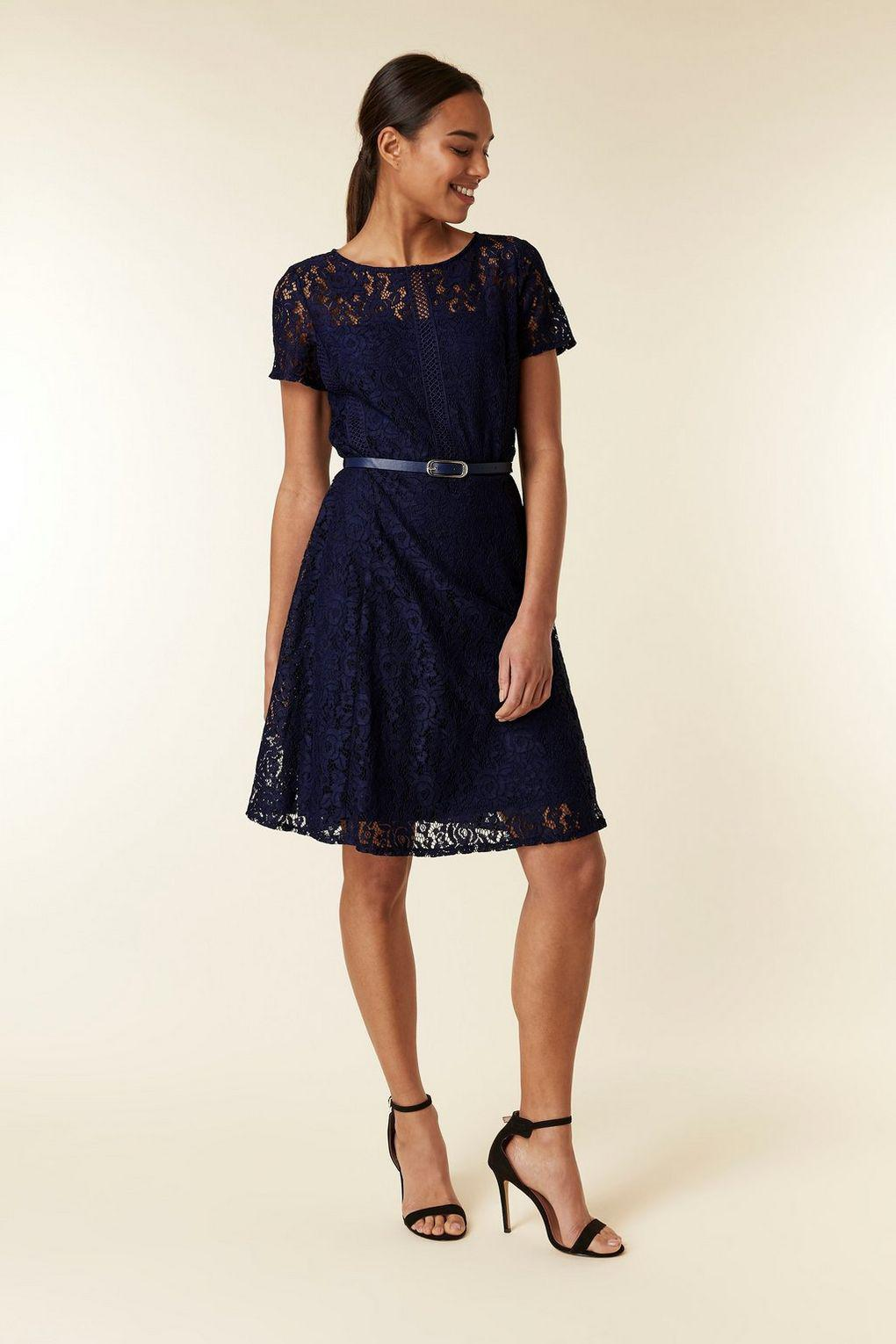 c9a237acace ... Navy Lace Belted Fit And Flare Dress - Lyst. View fullscreen