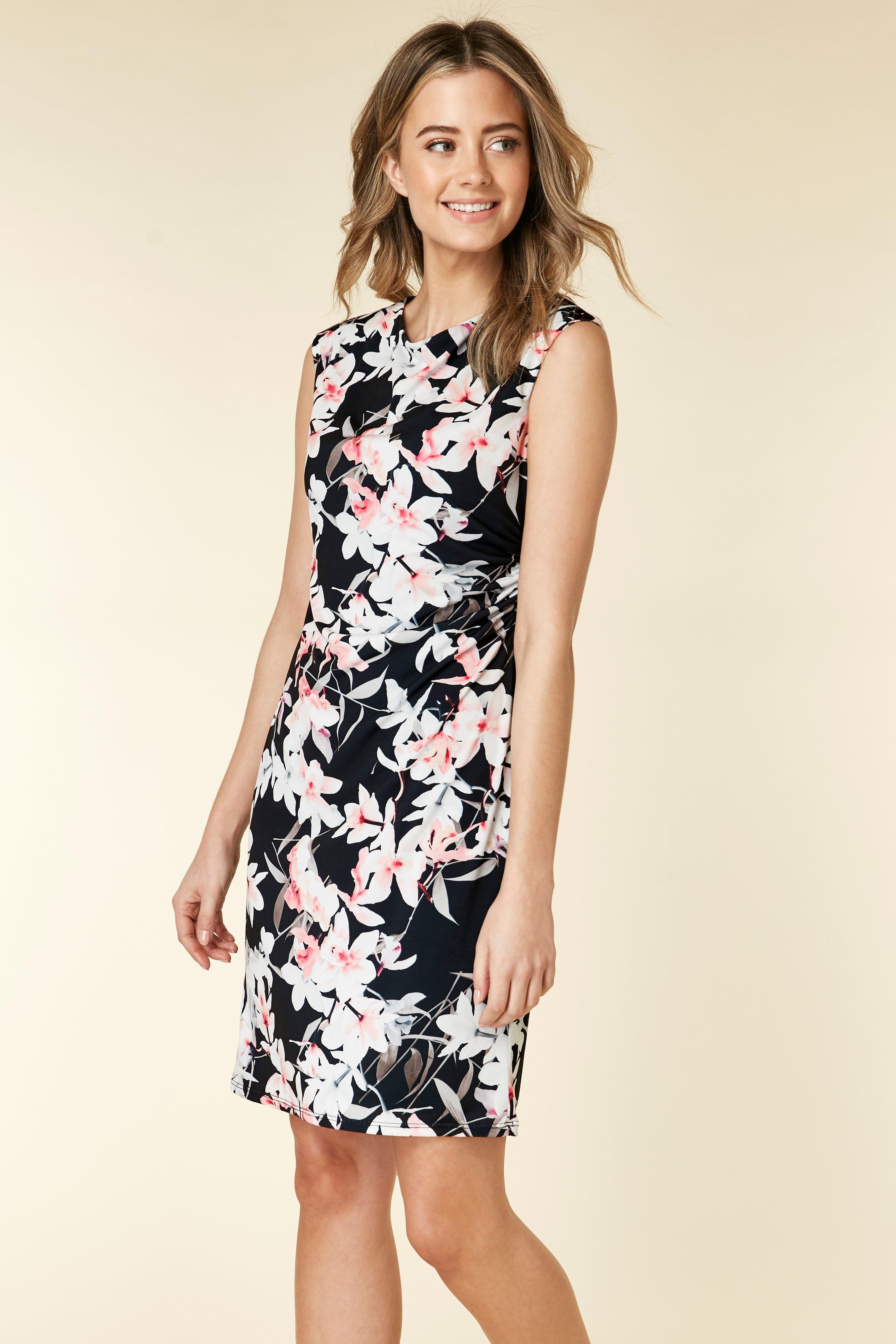 175b976c28bdbb Wallis - Petite Black Floral Print Shift Dress - Lyst. View fullscreen
