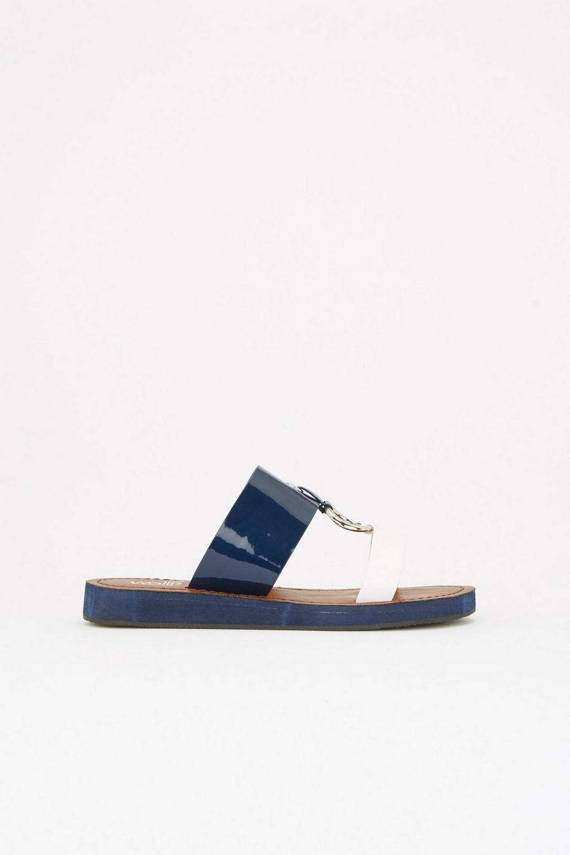 c2764826d7e2da Wallis Navy Eyelet Flat Sandal in Blue - Lyst