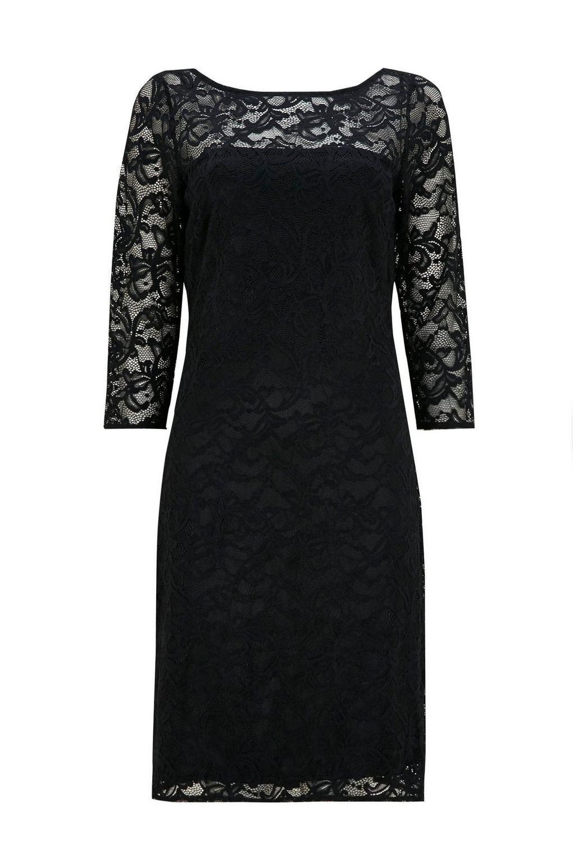 9337e3a0579f Wallis Black Lace Shift Dress in Black - Lyst