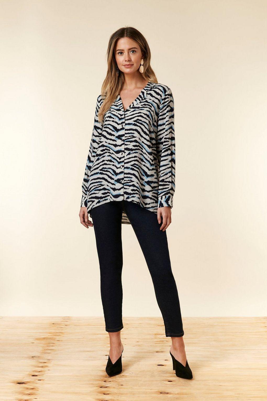 Wallis - Petite Blue Zebra Print Shirt - Lyst. View fullscreen 029c1dff5