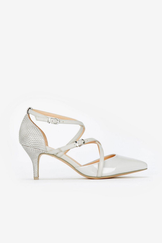a17a6f3d7bf Wallis Grey Multi Strap Kitten Heel Court Shoe in Gray - Lyst