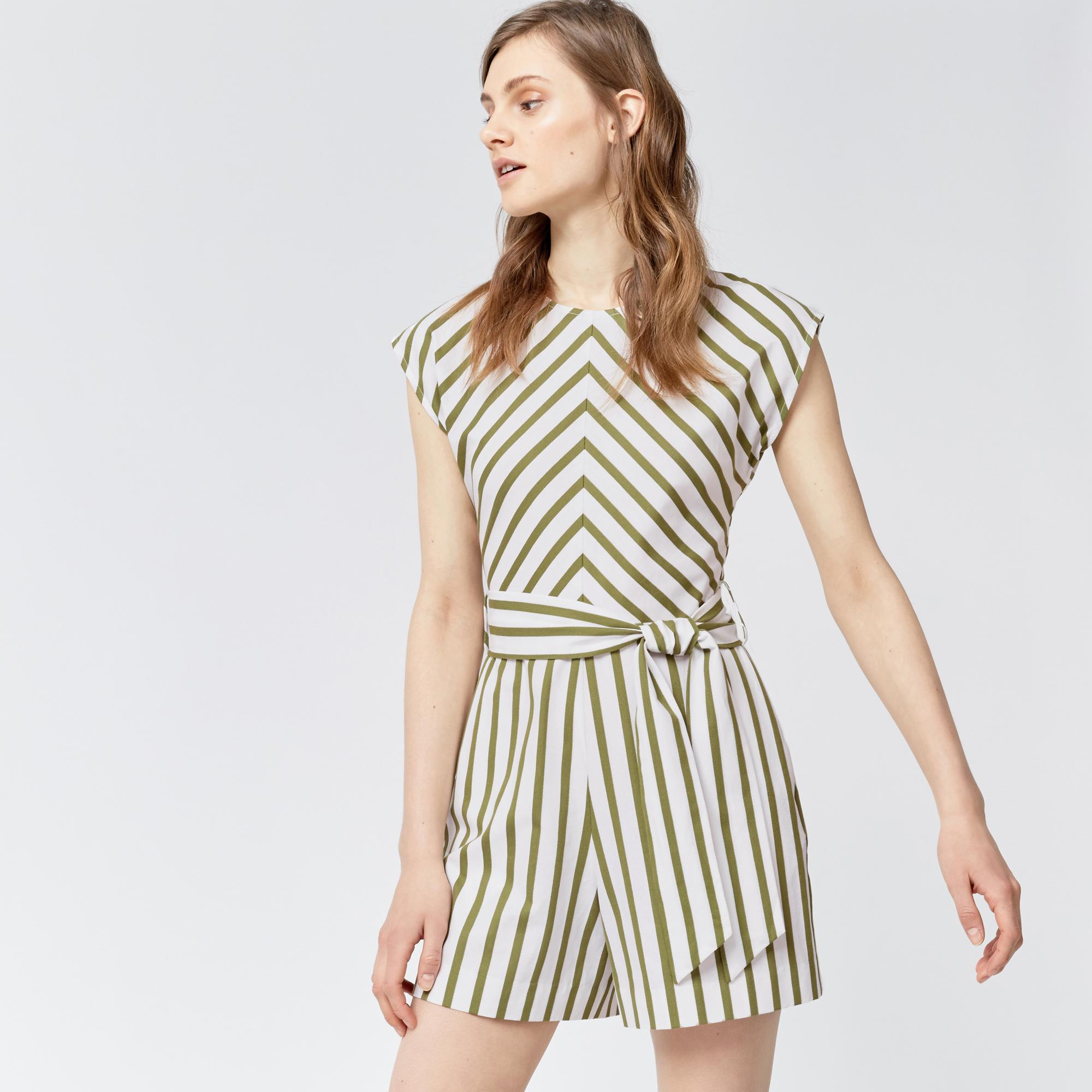 f25faf889a Warehouse Stripe Belted Playsuit in Green - Lyst
