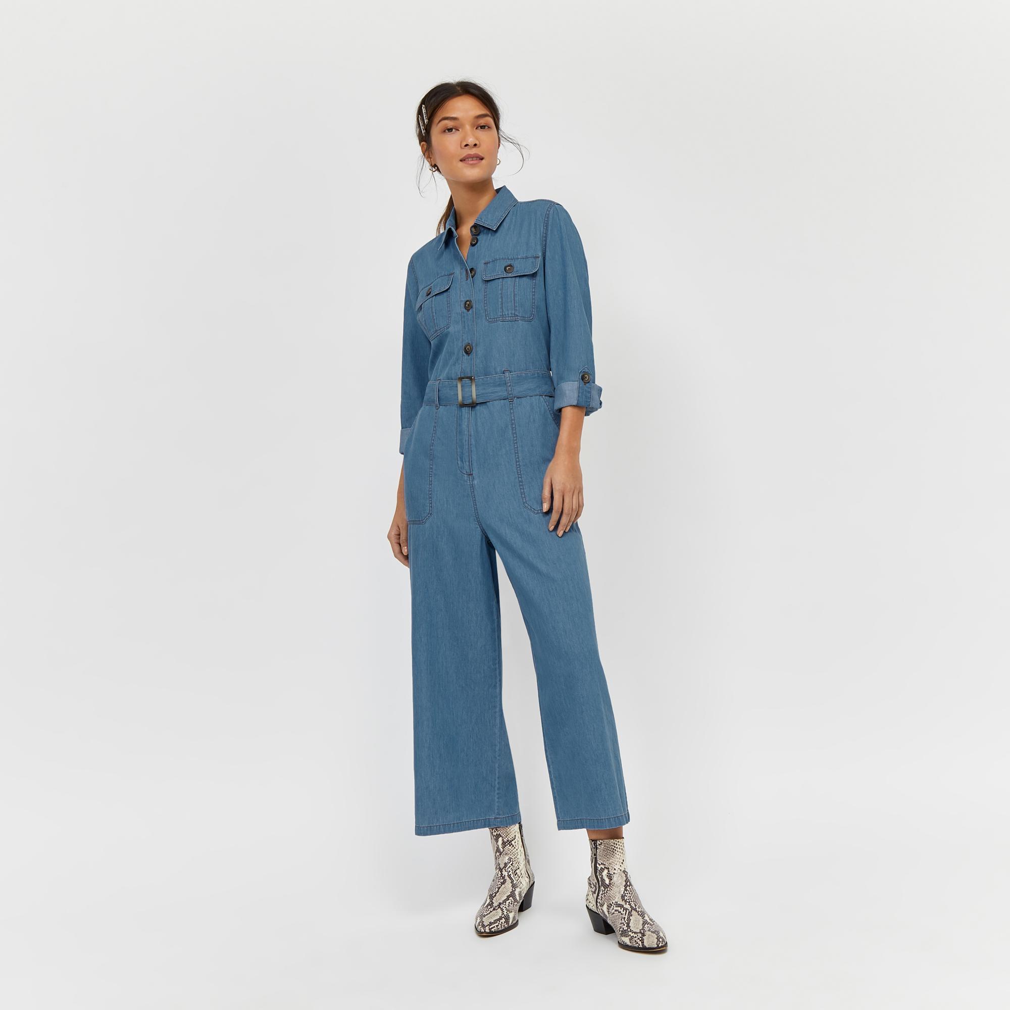 f9d603faefb Warehouse - Blue Wide Leg Denim Boiler Jumpsuit - Lyst. View fullscreen