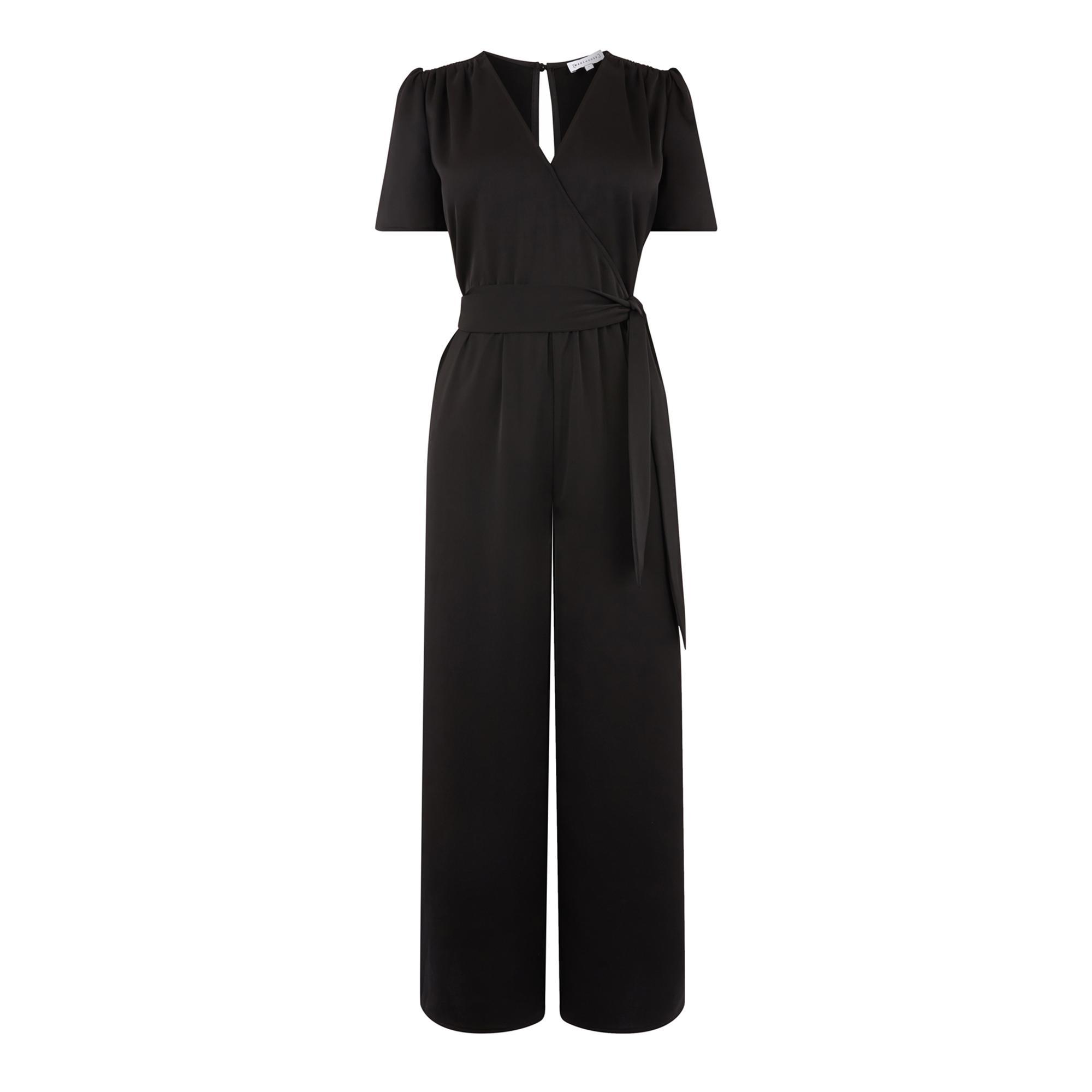 292c41c6a83a Warehouse - Black Ruched Shoulder Jumpsuit - Lyst. View fullscreen