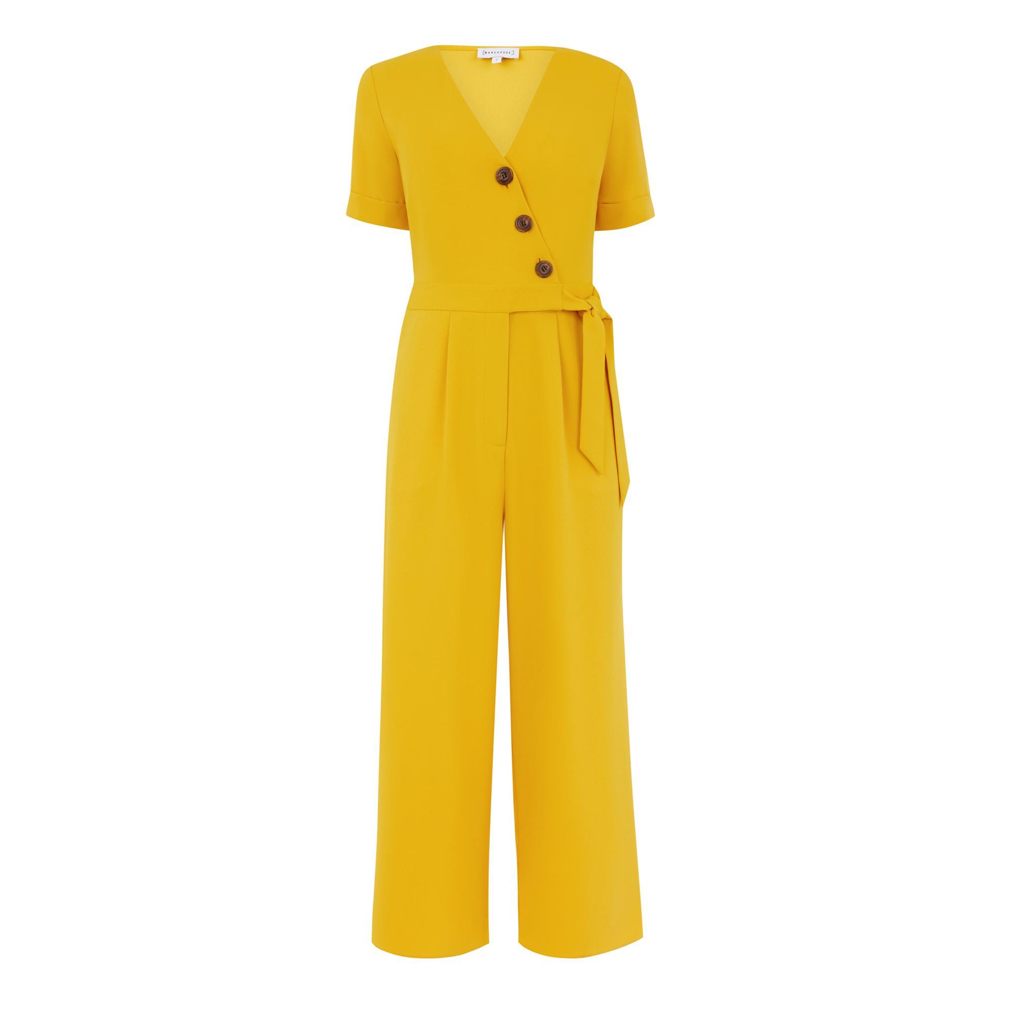9b849ad158e Warehouse - Yellow Asymmetric Button Jumpsuit - Lyst. View fullscreen