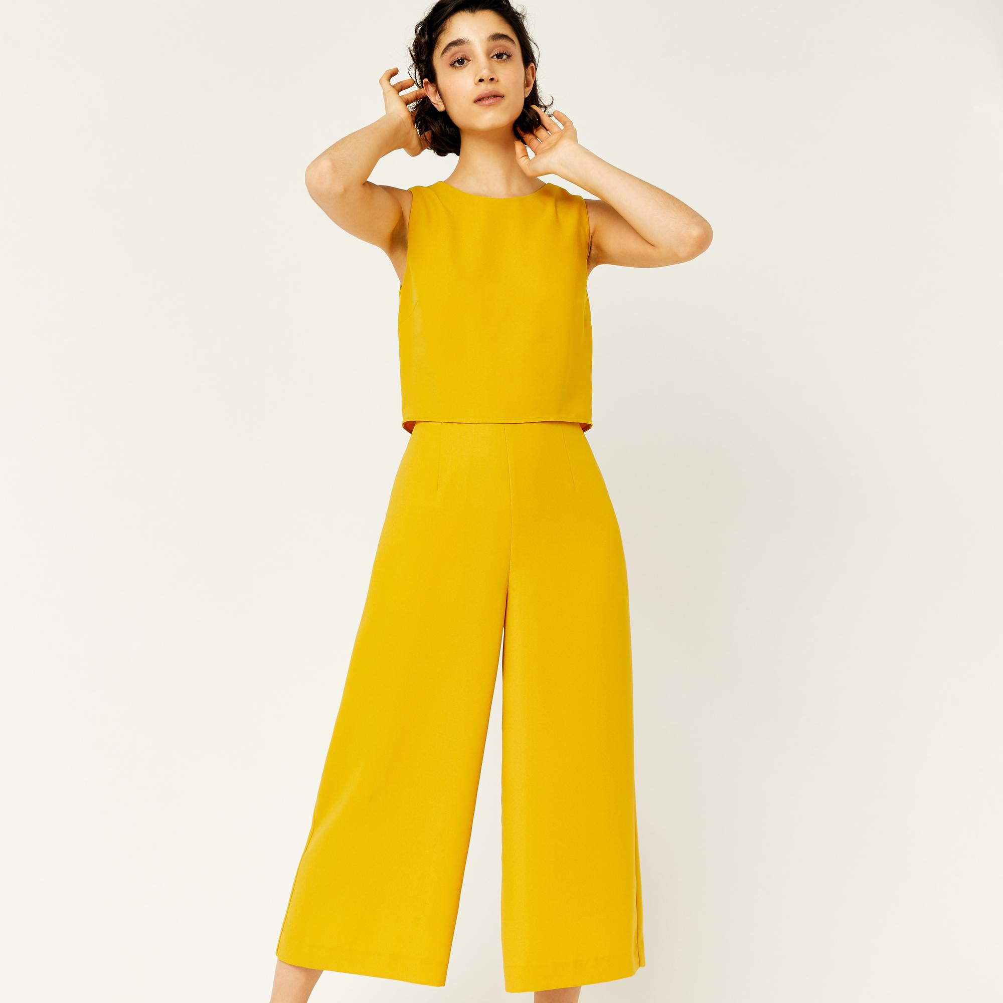 241d9942fed Warehouse Double Layer Jumpsuit in Yellow - Lyst
