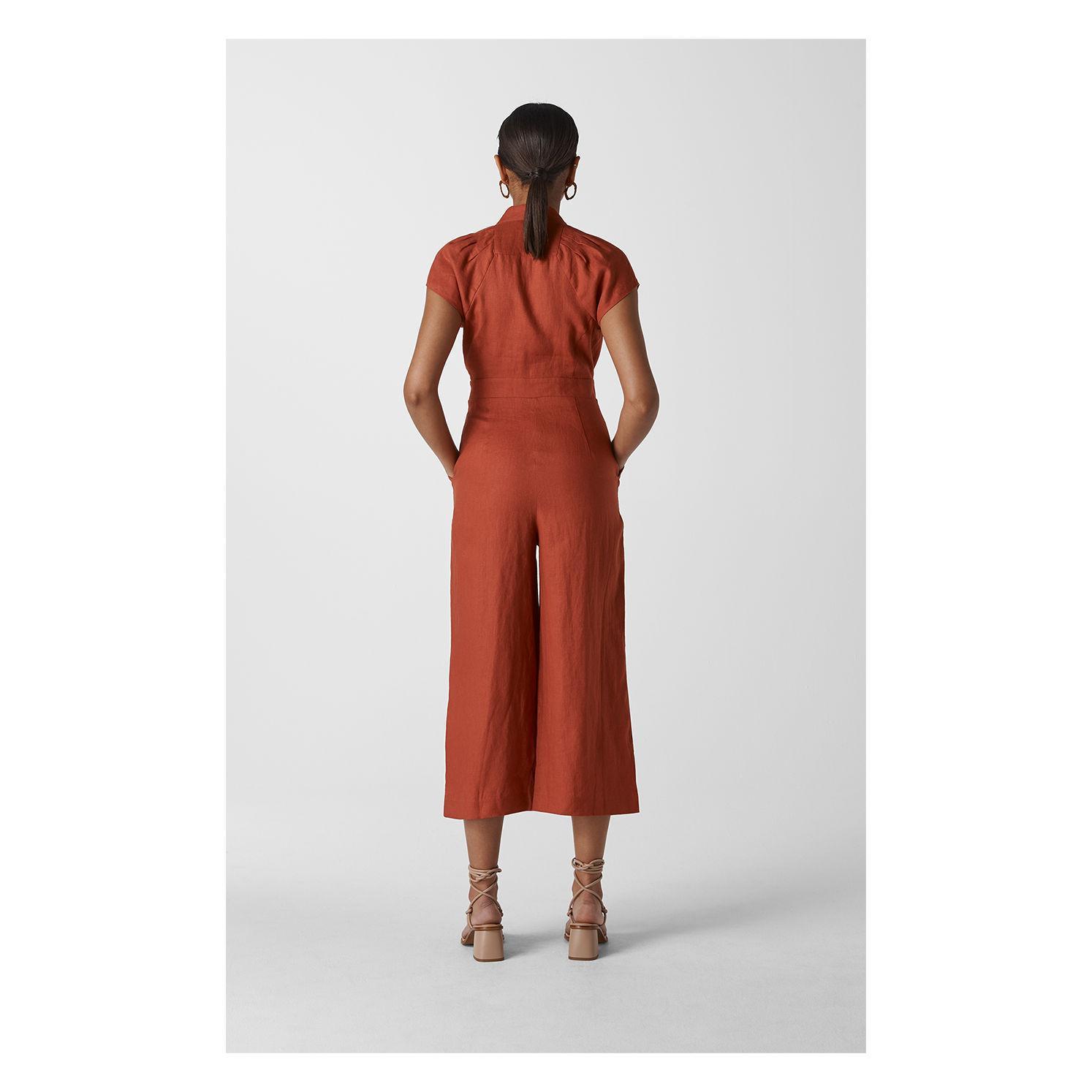 4bbb7ffd84 ... Sana Linen Button Jumpsuit - Lyst. View fullscreen