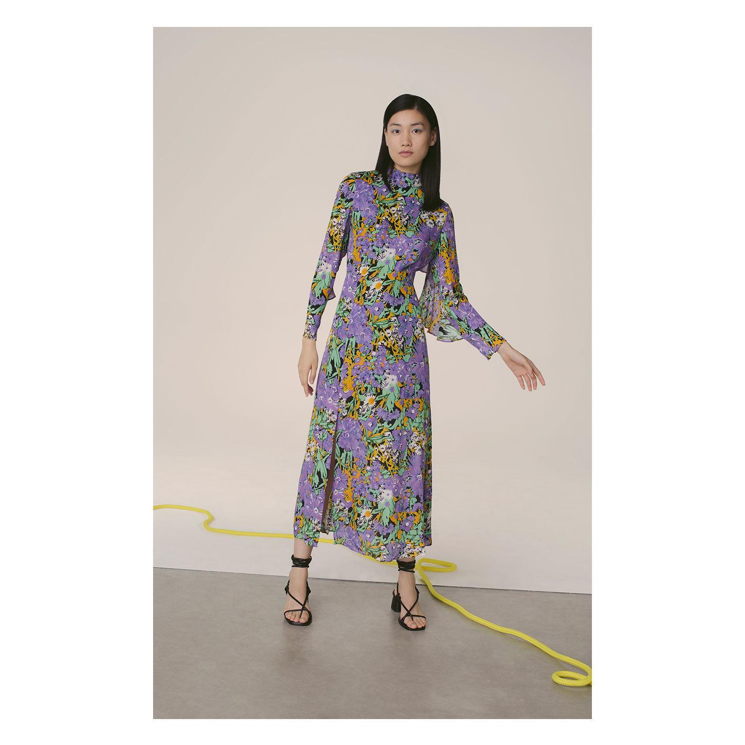 b20cfc6535b Whistles - Multicolor Simone Floral Print Midi Dress - Lyst. View fullscreen
