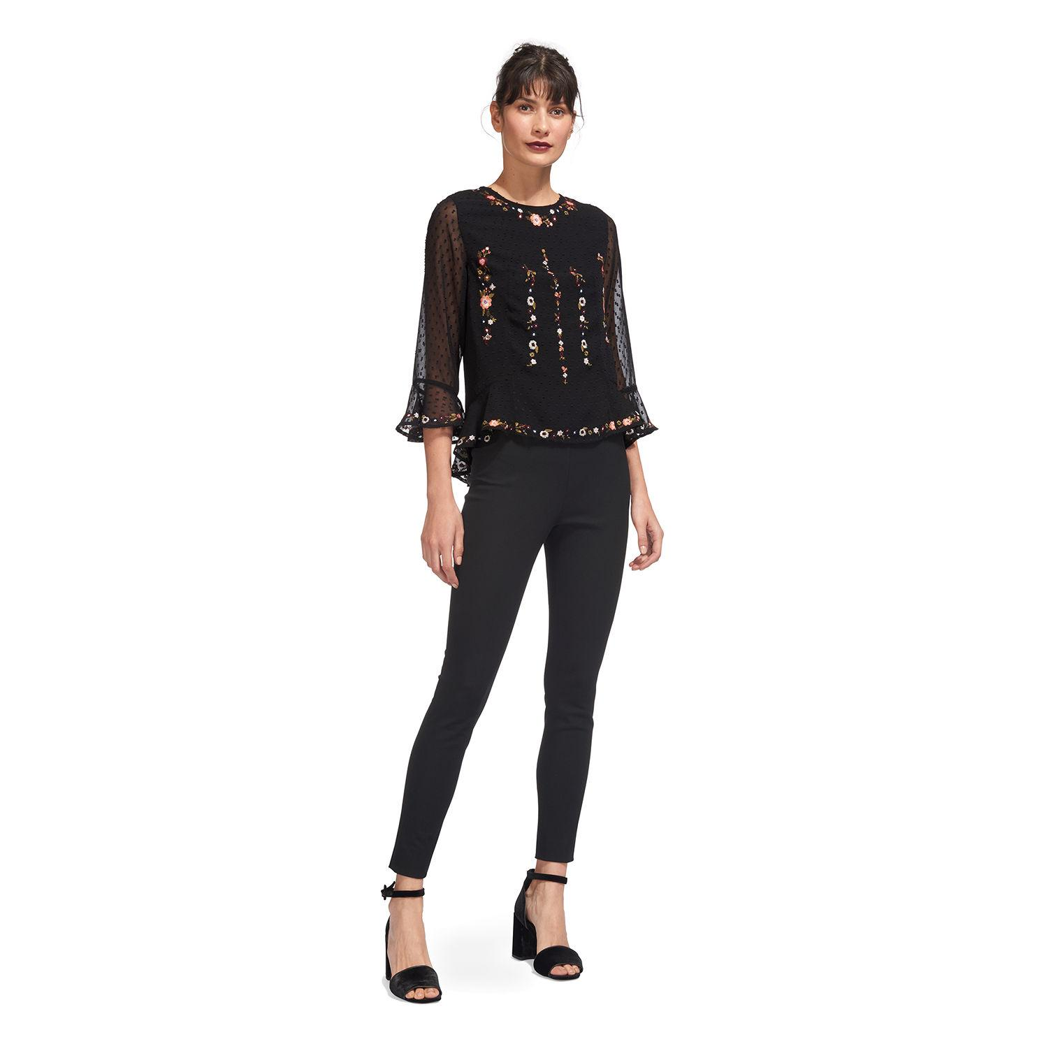 cfd575f9682f83 Lyst - Whistles Multi Flower Embroidered Top in Black - Save 83%