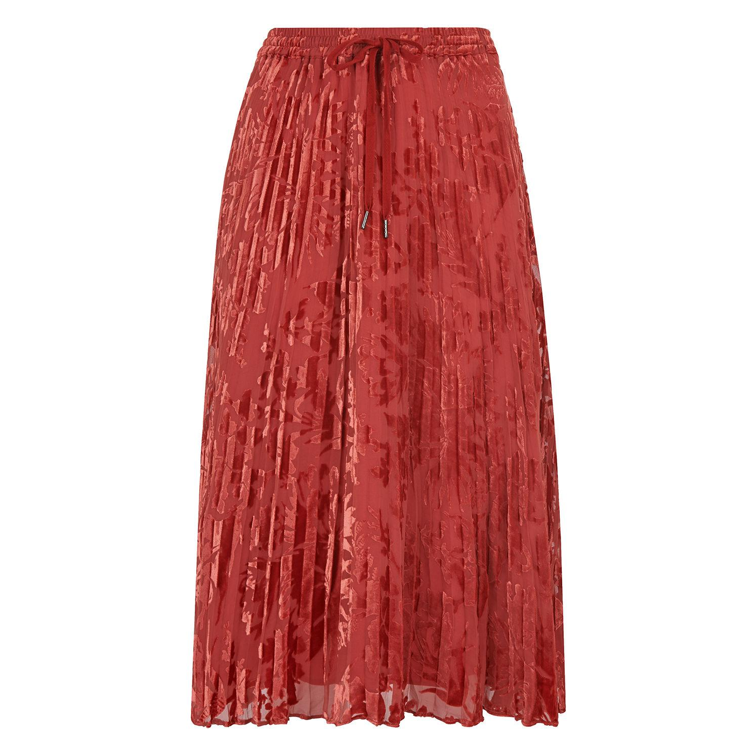 2cd3c6e85b Lyst - Whistles Harlow Pleated Devore Skirt in Orange - Save 92%