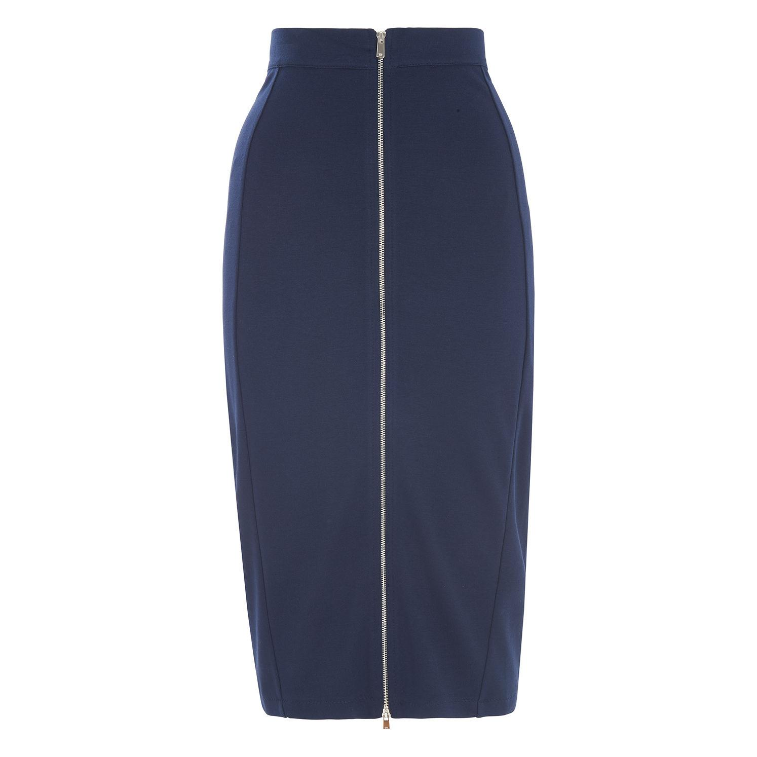 b59a928a35 Lyst - Whistles Jersey Zip Tube Skirt in Blue - Save 89%