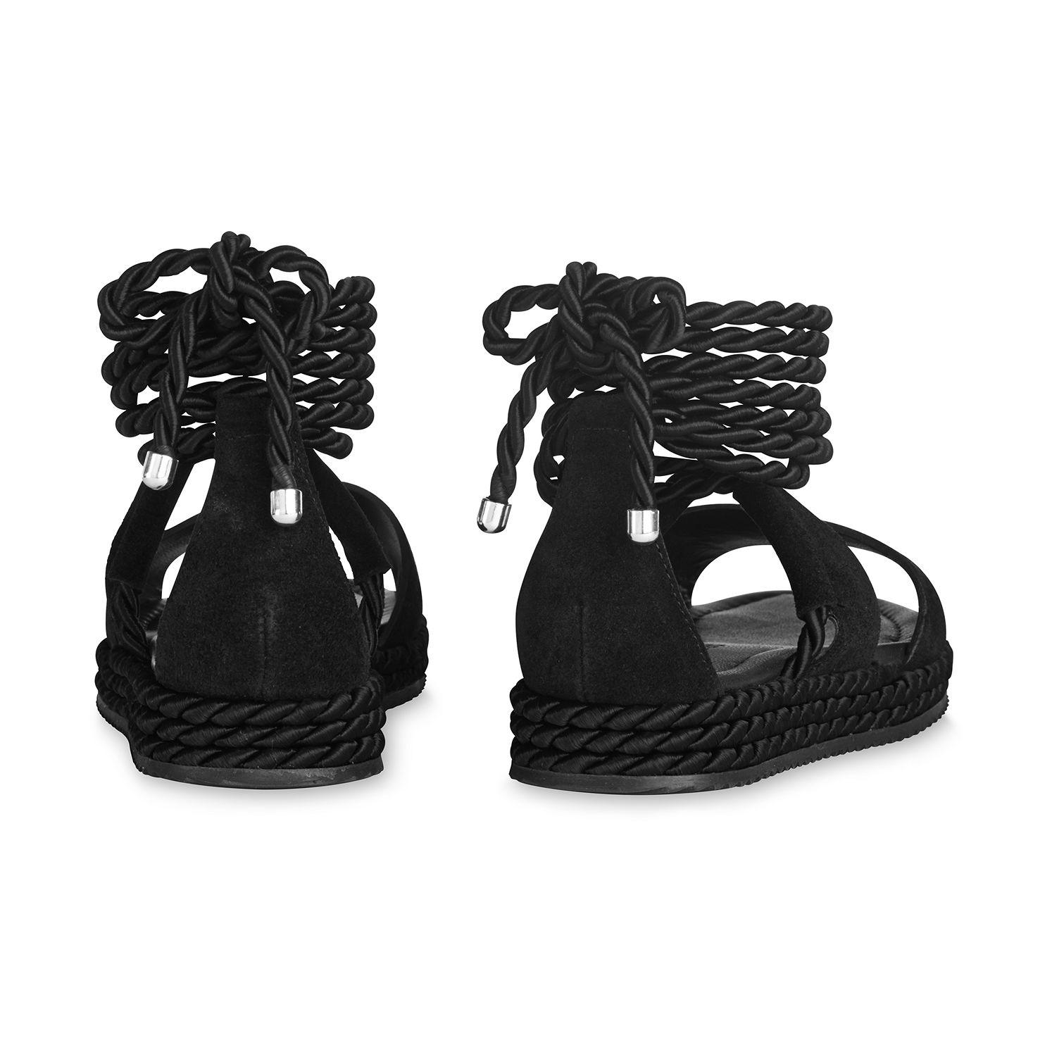 eb412a34d1ba Lyst - Whistles Mimosa Rope Flatform Sandals in Black