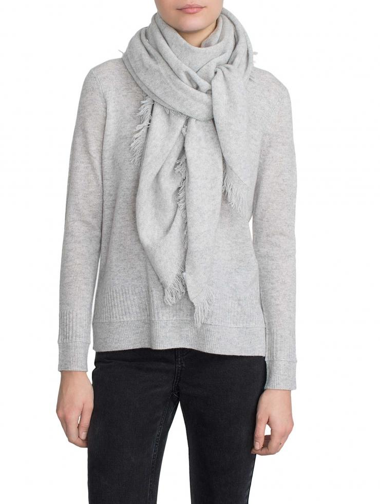 White + Warren Cashmere Fringe Triangle Scarf in Gray - Lyst