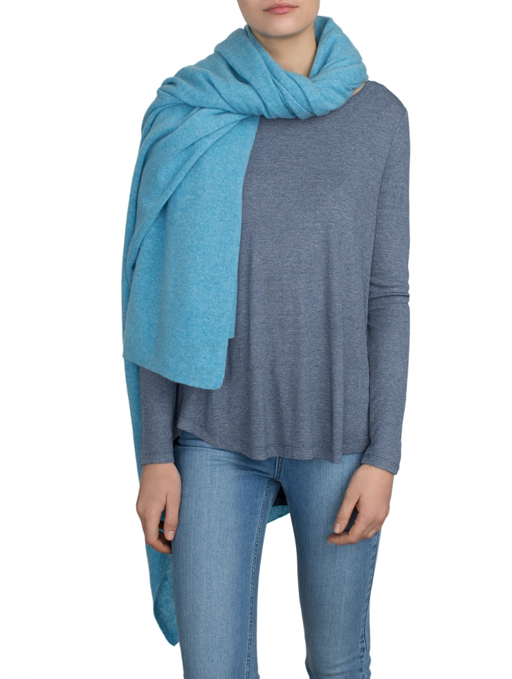 White + warren Cashmere Travel Wrap in Blue (AQUARIUS HTHR ...