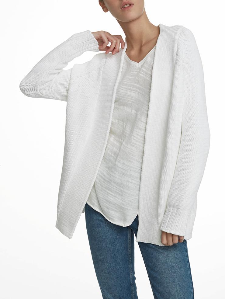 White + warren Cotton Chainette Cardigan in White | Lyst
