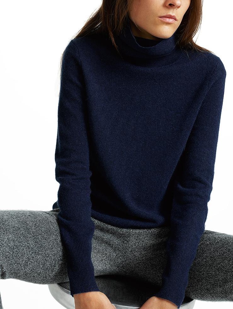 White + warren Essential Cashmere Turtleneck in Blue