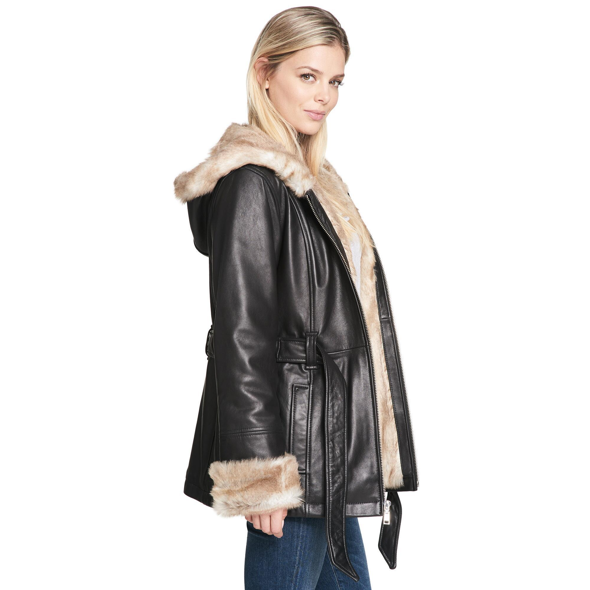 b5bb81f1a3580 Wilsons Leather - Black Plus Size Vintage Belted Leather Jacket W  Faux-fur  Lining. View fullscreen