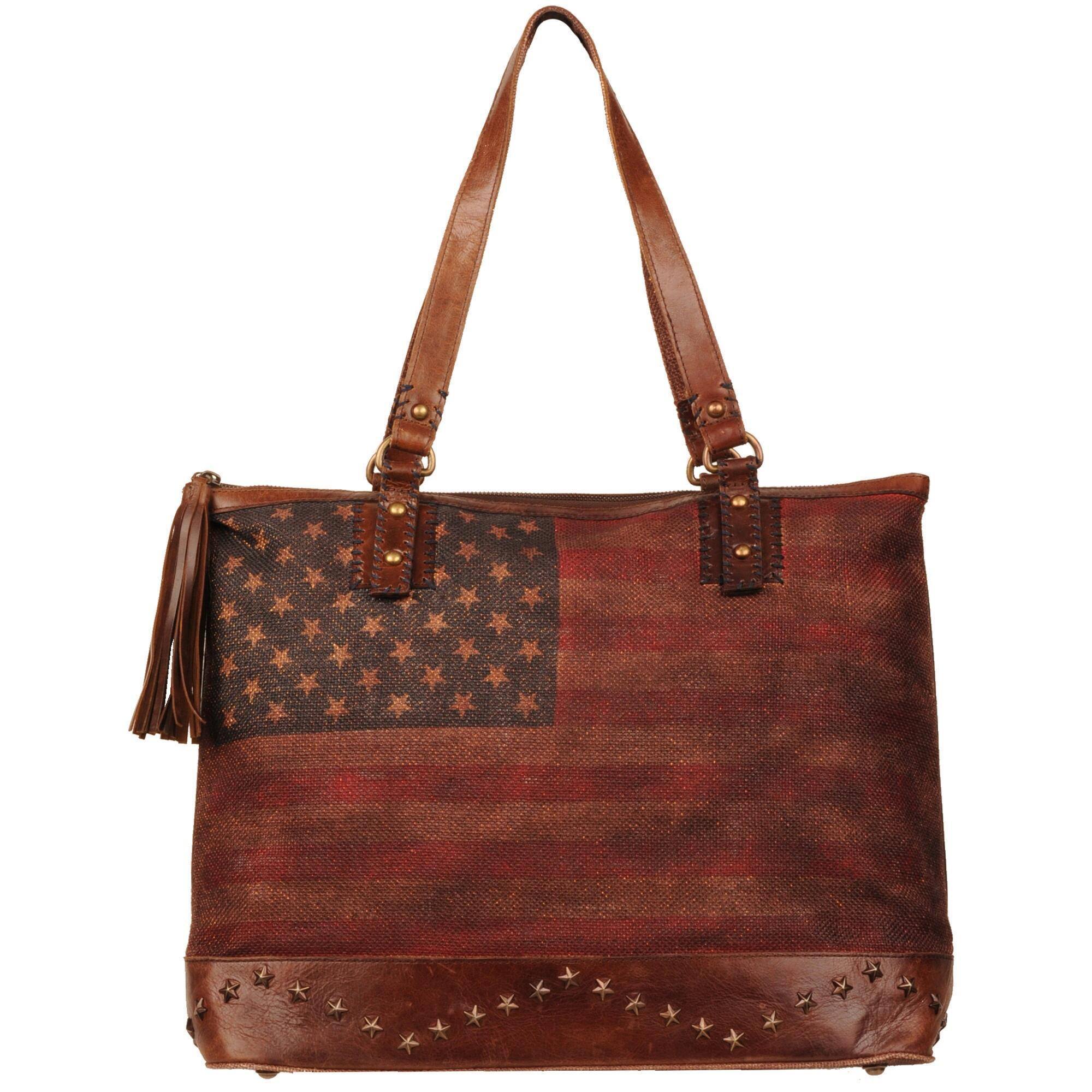 f8a7c67f2e2d Lyst - Wilsons Leather Black Rivet American Flag Large Tote in Red