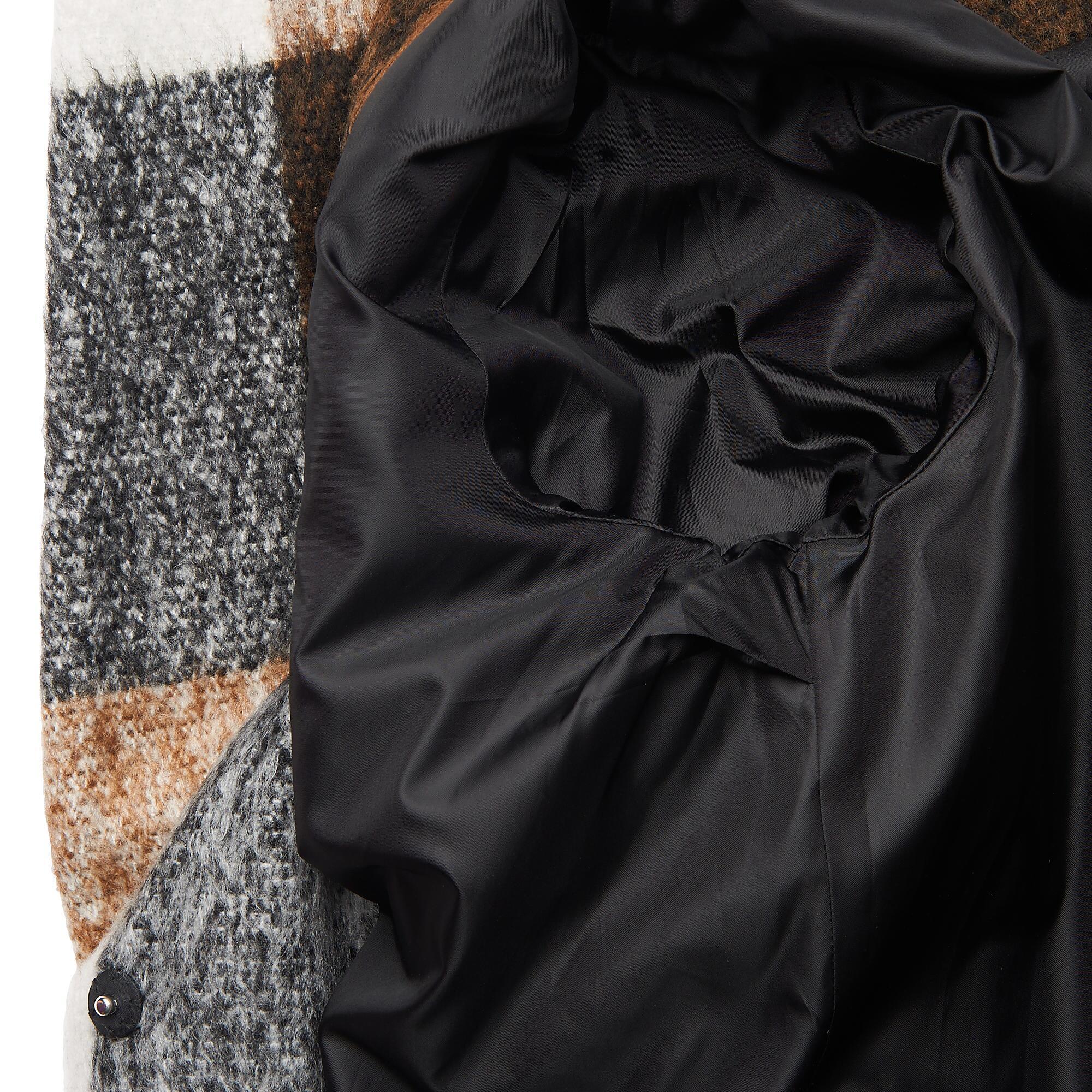 Black rivet plaid coat