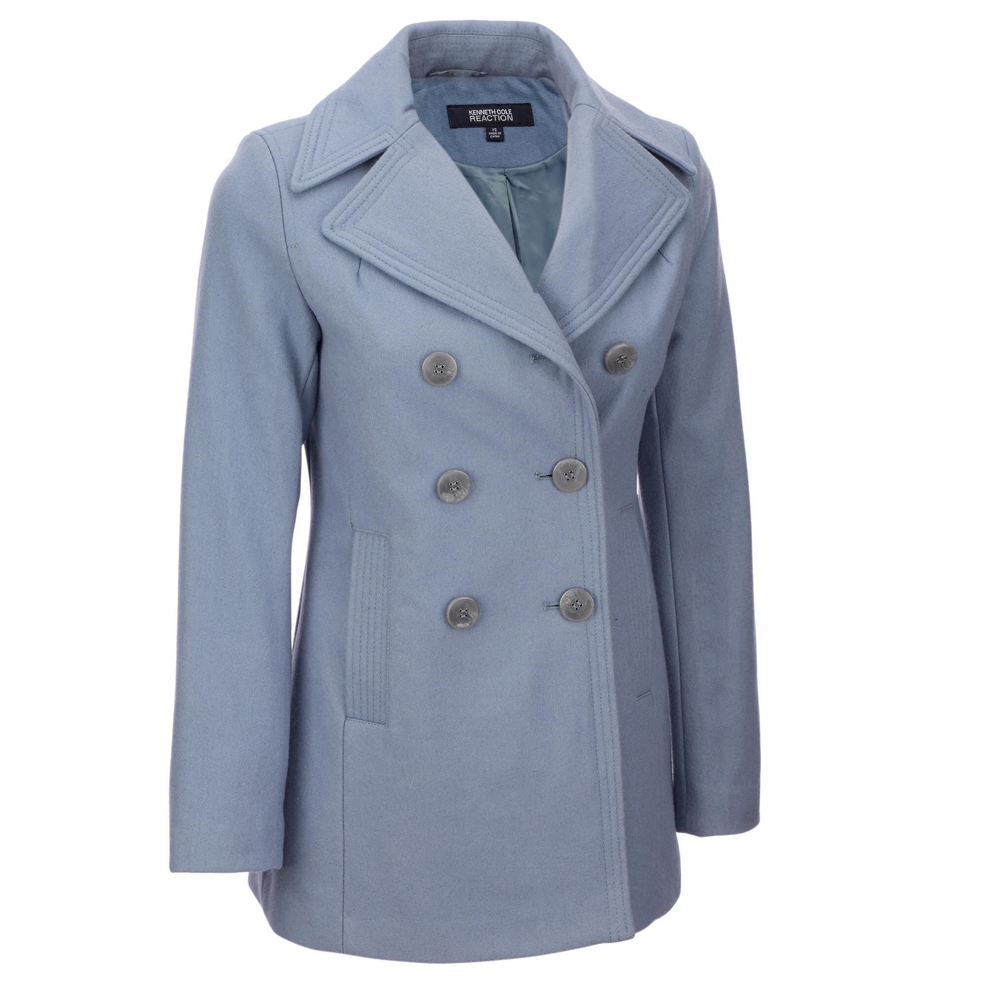 11898223d13 Wilsons Leather. Women s Blue Kenneth Cole Reaction 6 Button Double  Breasted Wool-blend Peacoat