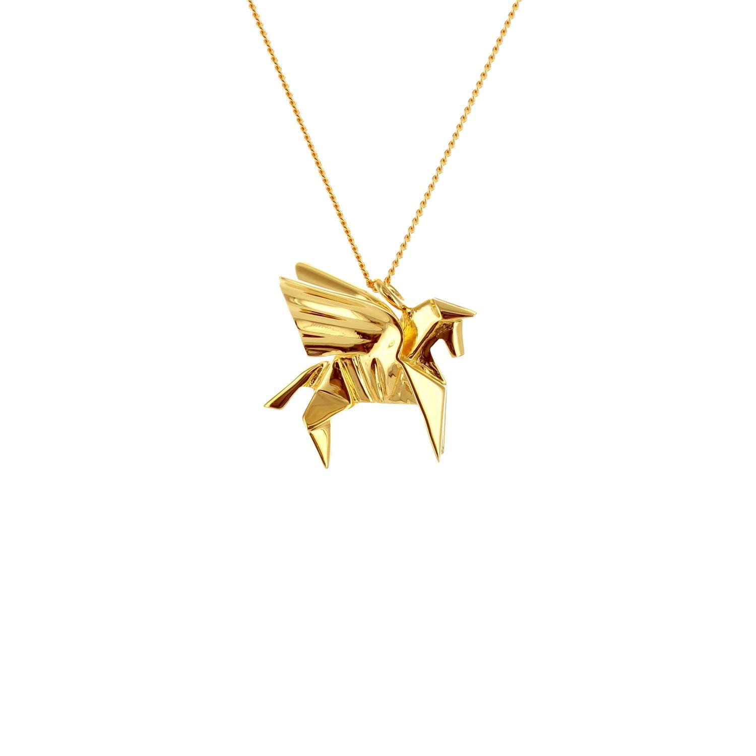 Origami Jewellery Sterling Silver & Gold Mini Lion Origami Necklace R6HUh