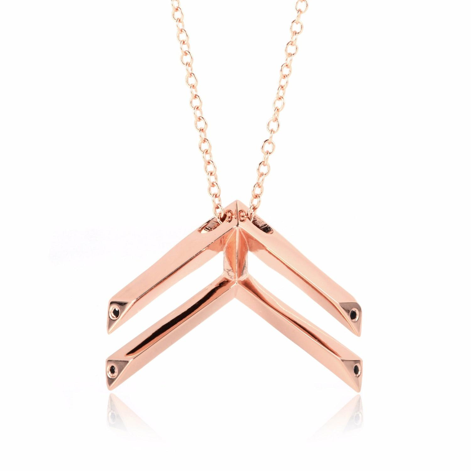 Sonal Bhaskaran Jaali Rose Gold Pendant with Clear Cubic Zirconia