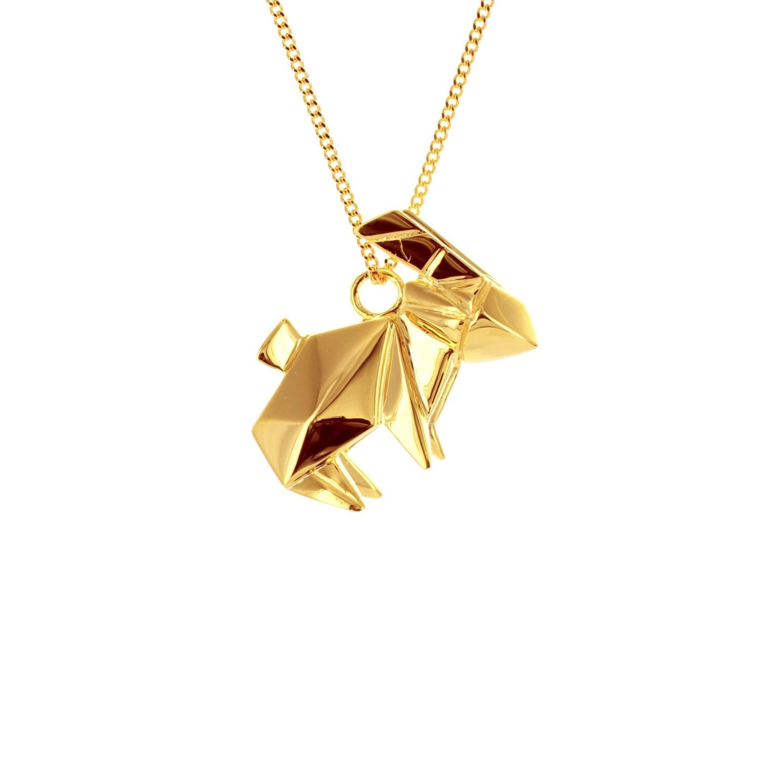 Origami jewellery Rabbit Necklace Gold Plated in Metallic ...
