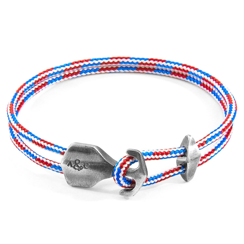 Anchor Crew Men S Project Rwb Red White Blue Delta Silver Rope Bracelet
