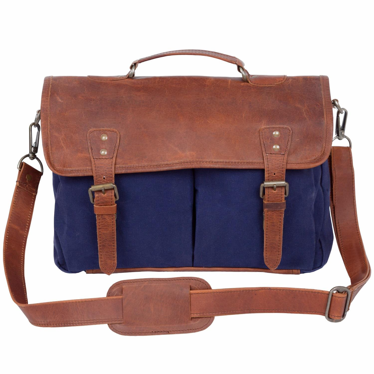 7ef7586ad773 Lyst - Mahi Leather Canvas And Leather Messenger Satchel Bag In Navy ...