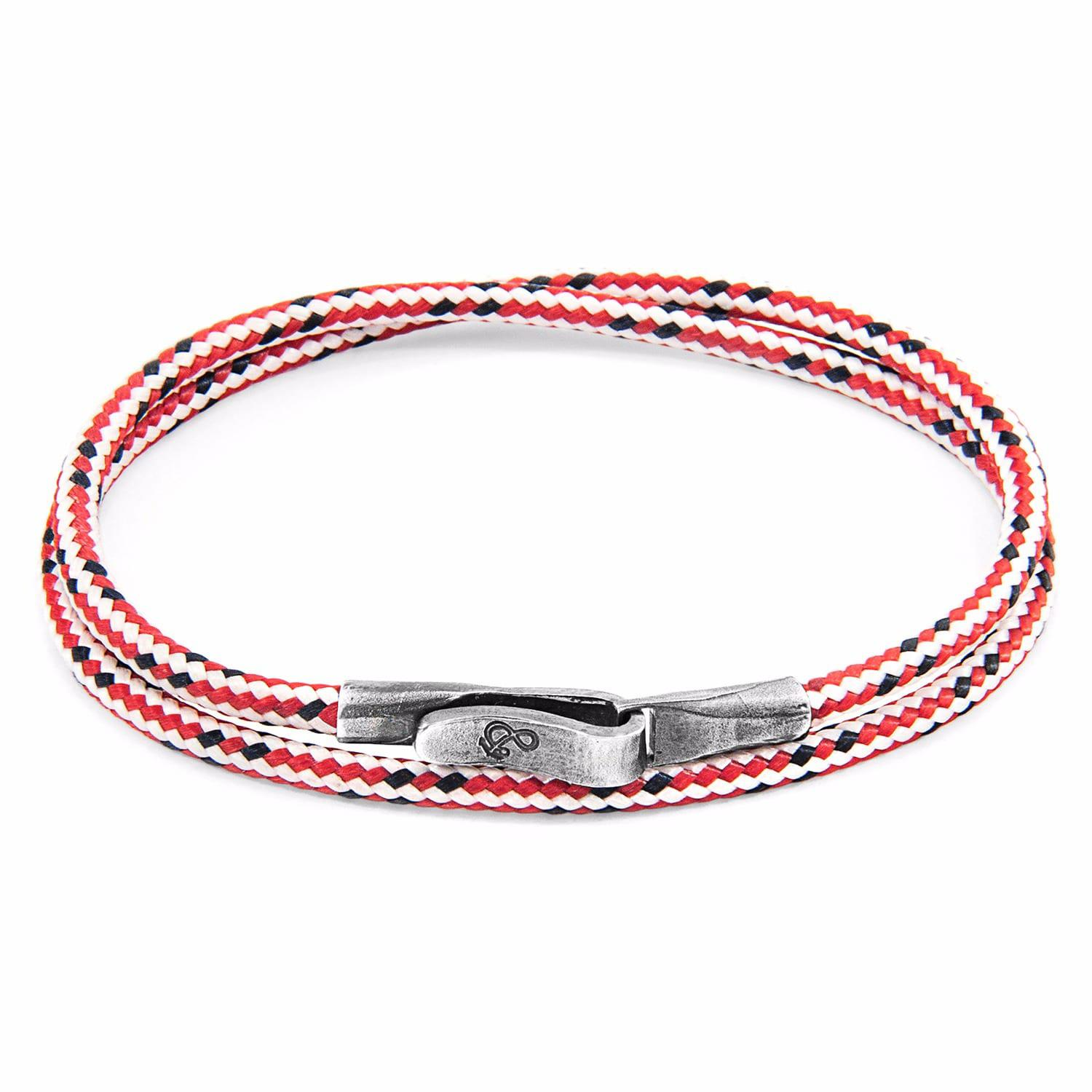 Anchor & Crew Red Dash Dundee Silver and Rope Bracelet ECy0y