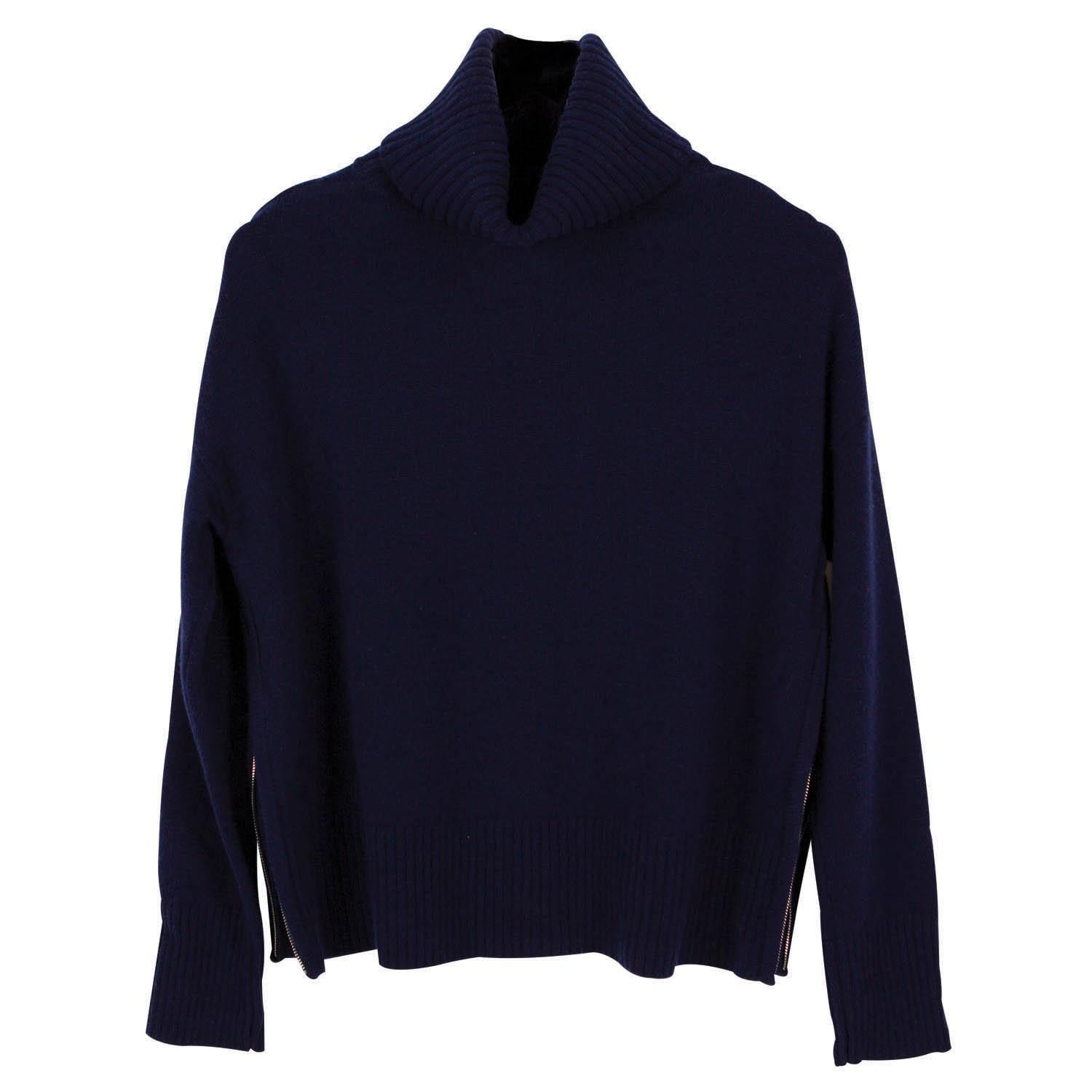 ille de cocos side zip roll neck sweater navy in blue lyst. Black Bedroom Furniture Sets. Home Design Ideas