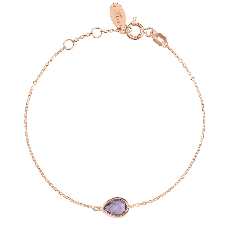 Latelita London Venice Bracelet Rose Gold Amethyst IqARiFd