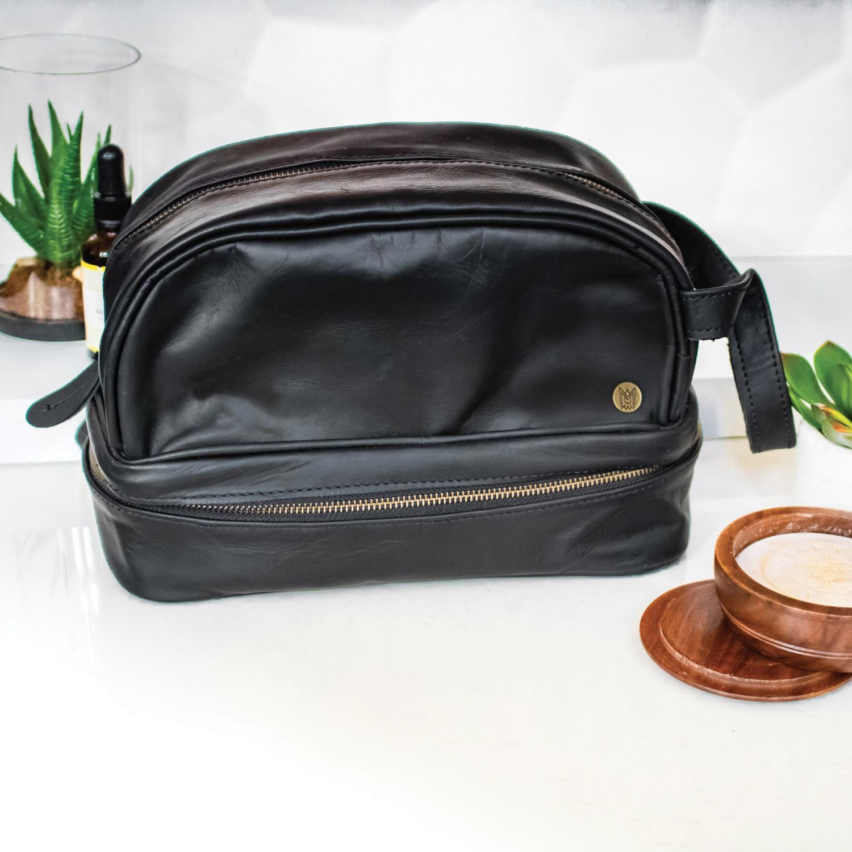 ef390aa289 ... Leather Raleigh Toiletry Bag Dopp Kit In Ebony Black for Men - Lyst.  View fullscreen