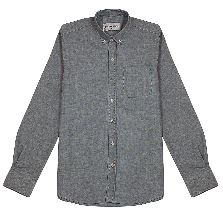 Lyst karim maher grey button down cotton oxford shirt in for Mens grey button down dress shirt
