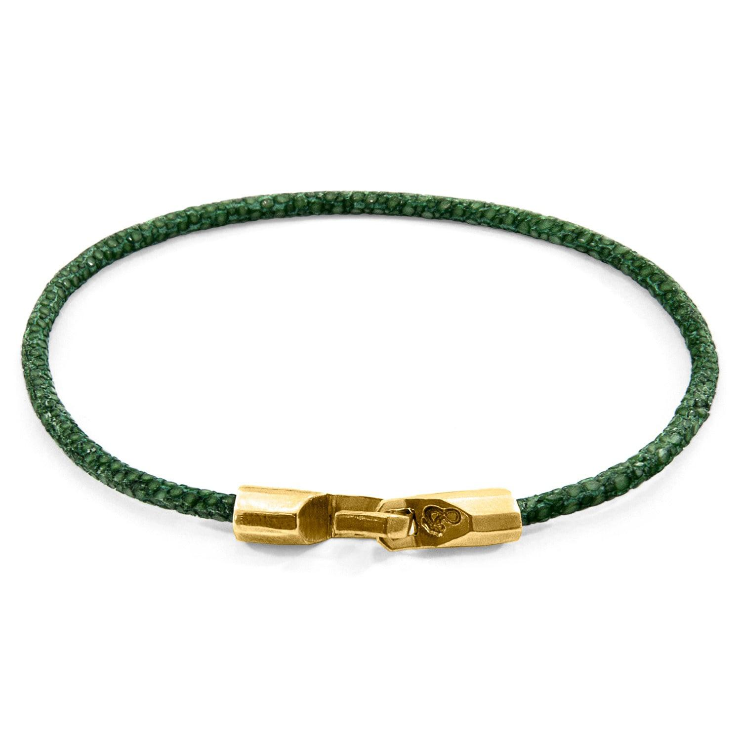 Anchor & Crew Dundee 9kt Yellow Gold & Stingray Leather Bracelet - Bordeaux Red ArDwk